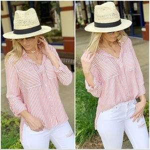 Infinity Raine Tops - ✨LAST ONE✨Red striped roll tab sleeve button up